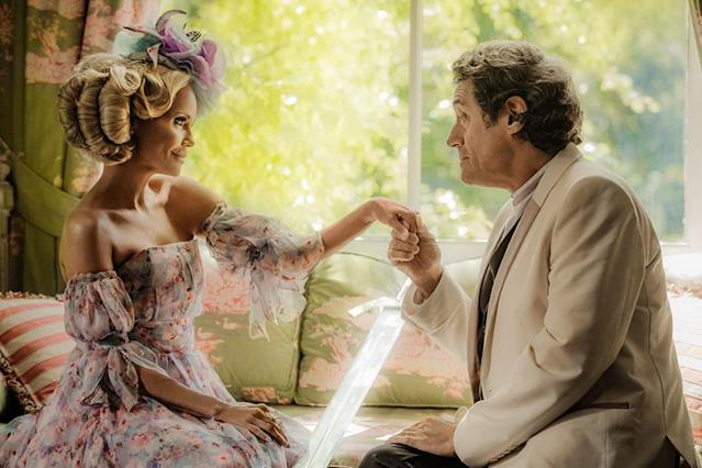 <p>Kristin Chenoweth as Easter and Ian McShane as Mr. Wednesday in Starz's <i>American Gods</i>.<br><br>(Photo: Starz) </p>