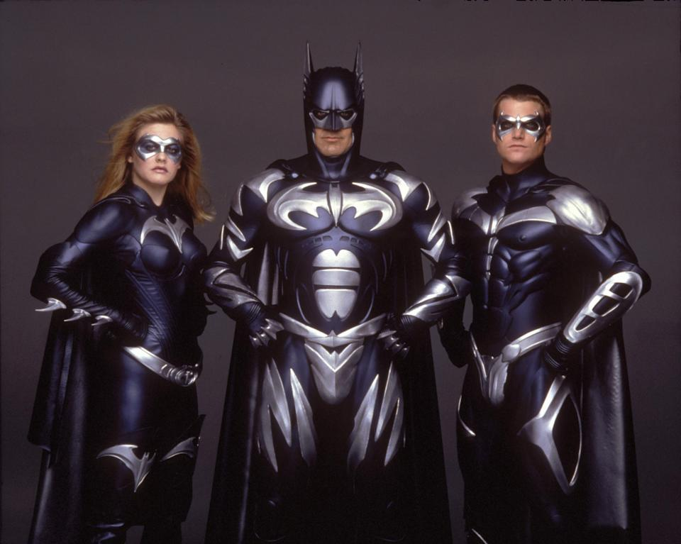Batman & Robin, 1997: Alicia Silverstone as Batgirl, George Clooney as Bruce Wayne and Chris O'Donnell as Robin. (Warner Brothers / DC Comics, interTOPICS/mptv)