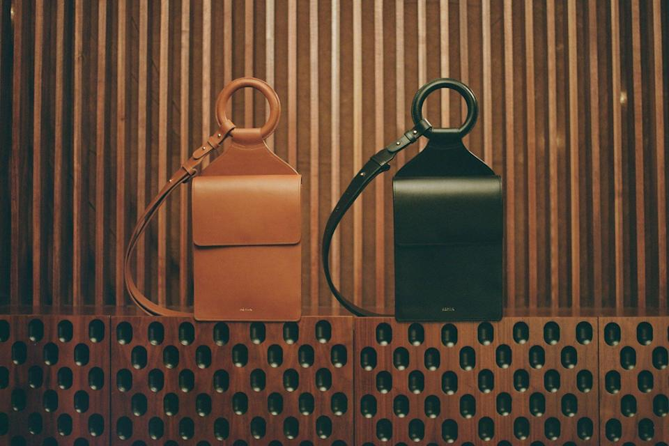 Brown and black leather bags