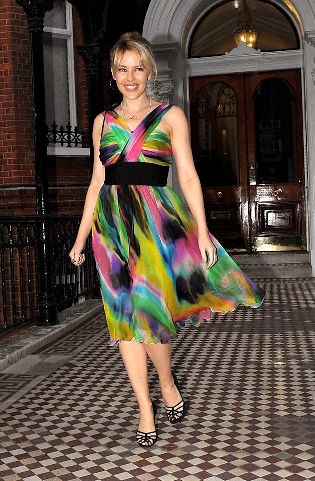 "Kylie Minogue makes a splash in this stunning multicolored frock. Gotcha Images/<a href=""http://www.splashnewsonline.com"" target=""new"">Splash News</a> - August 6, 2008"