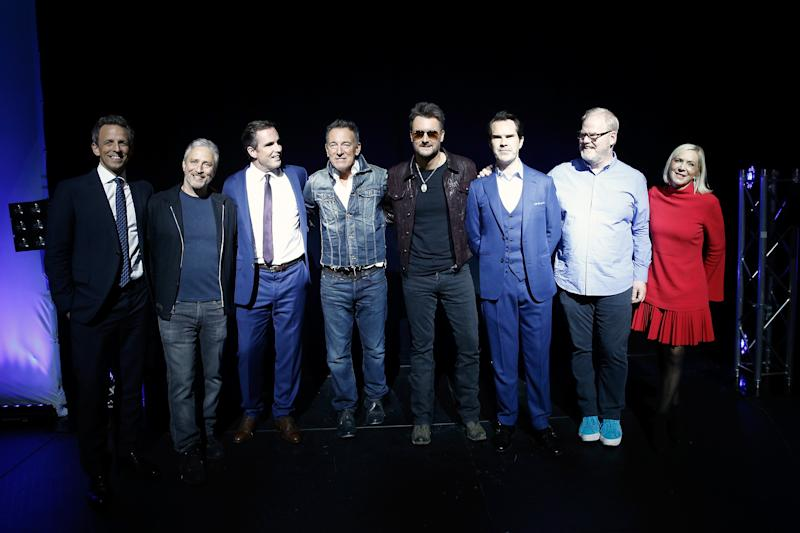 (From left) Seth Meyers, Stewart, Bob Woodruff, Bruce Springsteen, Eric Church, Jimmy Carr, Jim Gaffigan and Lee Woodruff at Stand Up for Heroes, which raised funds for injured veterans and their families. It marked the start of the New York Comedy Festival. (Brian Ach via Getty Images)