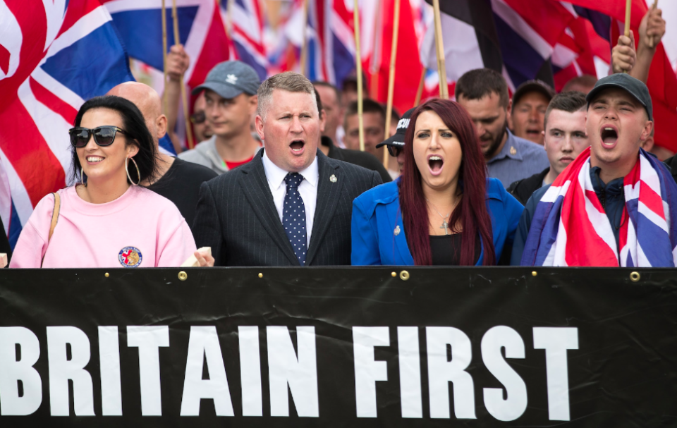 <em>Fransen was charged with using threatening and abusive language at a rally in Belfast (Rex)</em>