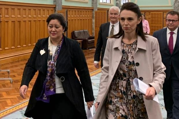 Cindy Kiro, left, and Prime Minister Jacinda Ardern, right, walk together through the Parliament Building Monday, May 24, 2021, in Wellington, New Zealand. Kiro was named as New Zealand's next governor-general — the first Indigenous Maori woman appointed to the role. (Nick Perry/Associated Press - image credit)