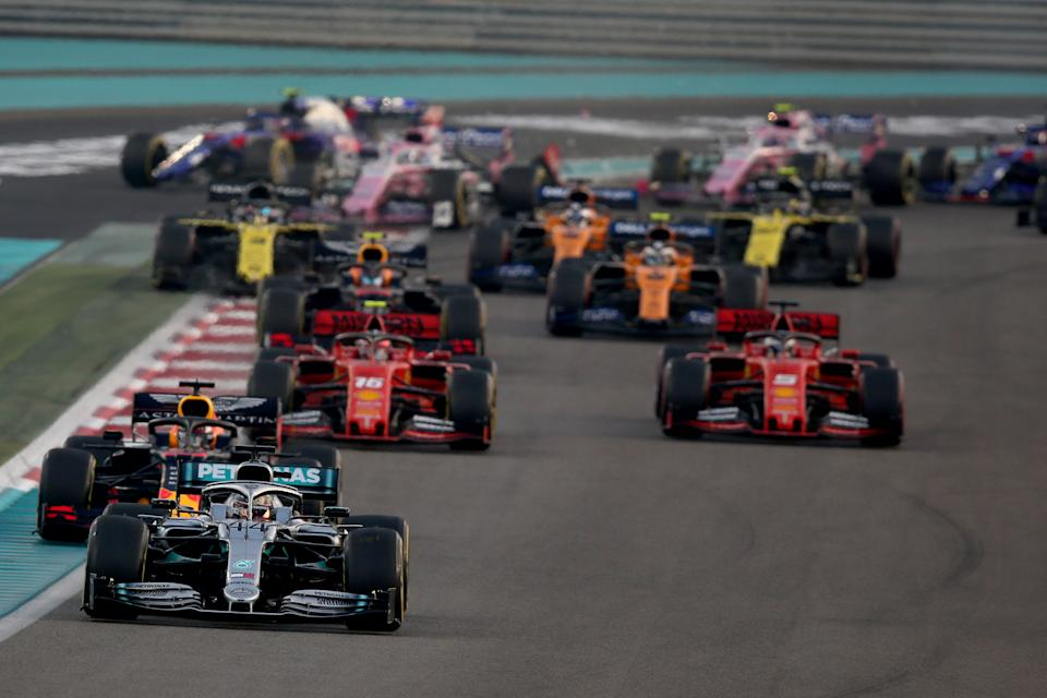 ABU DHABI, UNITED ARAB EMIRATES - DECEMBER 01: Lewis Hamilton of Great Britain driving the (44) Mercedes AMG Petronas F1 Team Mercedes W10 leads the field at the start during the F1 Grand Prix of Abu Dhabi at Yas Marina Circuit on December 01, 2019 in Abu Dhabi, United Arab Emirates. (Photo by Charles Coates/Getty Images)