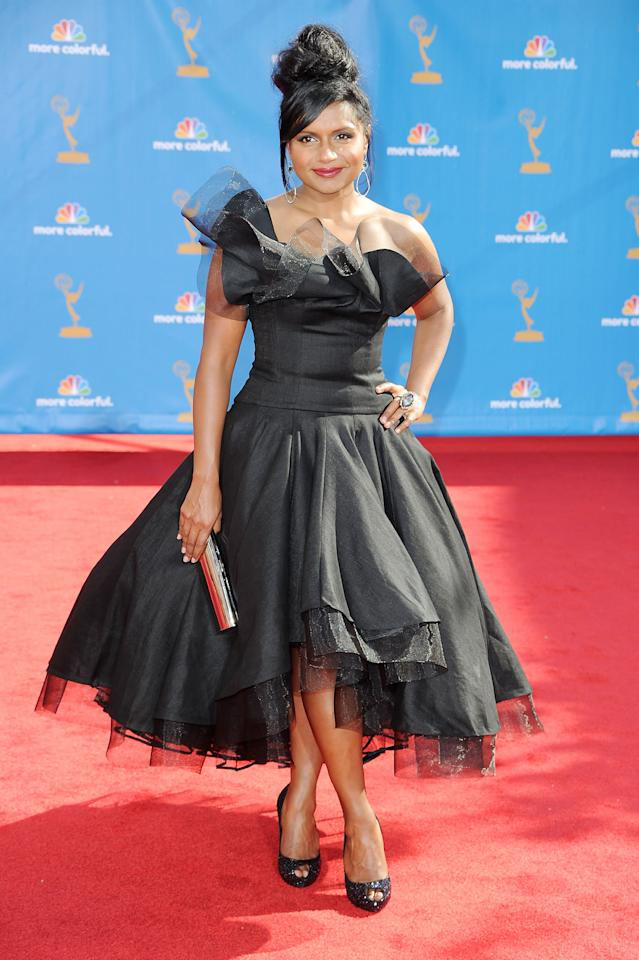 LOS ANGELES, CA - AUGUST 29:  Actress Mindy Kaling arrives at the 62nd Annual Primetime Emmy Awards held at the Nokia Theatre L.A. Live on August 29, 2010 in Los Angeles, California.  (Photo by Frazer Harrison/Getty Images)