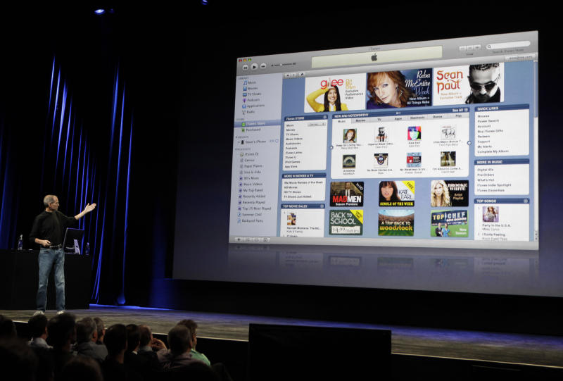 FILE - In this Sept. 9, 2009, file photo Apple CEO Steve Jobs talks about iTunes at an Apple event in San Francisco. Apple's latest operating software for Mac computers kills off iTunes, the once-revolutionary program that made online music sales mainstream and effectively blunted the impact of piracy. (AP Photo/Paul Sakuma, File)