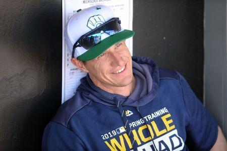 FILE PHOTO: Mar 17, 2019; Phoenix, AZ, USA; Milwaukee Brewers manager Craig Counsell (30) looks on prior to the game against the Los Angeles Dodgers at Camelback Ranch. Mandatory Credit: Joe Camporeale-USA TODAY Sports