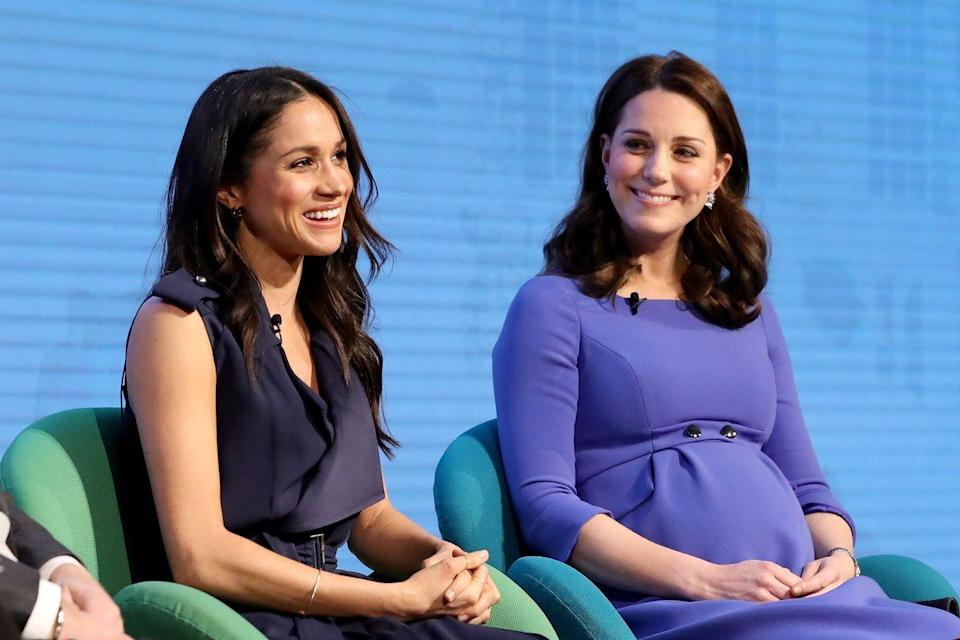 """<p>For the first annual Royal Foundation Forum with Prince Harry, and the Duke and Duchess of Cambridge, Meghan Markle wore a <a href=""""https://www.net-a-porter.com/gb/en/product/992242/Jason_Wu/belted-satin-wrap-dress"""" rel=""""nofollow noopener"""" target=""""_blank"""" data-ylk=""""slk:blue satin wrap dress by Jason Wu"""" class=""""link rapid-noclick-resp"""">blue satin wrap dress by Jason Wu</a>, Aquazzura <a href=""""https://www.net-a-porter.com/us/en/product/993322"""" rel=""""nofollow noopener"""" target=""""_blank"""" data-ylk=""""slk:Casablanca suede sandals"""" class=""""link rapid-noclick-resp"""">Casablanca suede sandals</a> and a pair of now sold-out <a href=""""https://www.net-a-porter.com/gb/en/product/987869?cm_mmc=LinkshareUK-_-QFGLnEolOWg-_-Custom-_-LinkBuilder&siteID=QFGLnEolOWg-IU.idLbqlA_jRKy0_EtOYA&rewardStyle=rewardStyle"""" rel=""""nofollow noopener"""" target=""""_blank"""" data-ylk=""""slk:Isabel Marant enamelled gold-tone hoop earrings"""" class=""""link rapid-noclick-resp"""">Isabel Marant enamelled gold-tone hoop earrings</a> (you can still add them to your wishlist here. </p>"""