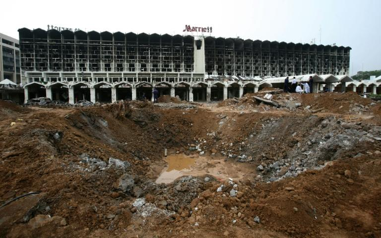 A huge crater left by a bomb blast at the Marriott Hotel in Islamabad on September 22, 2008