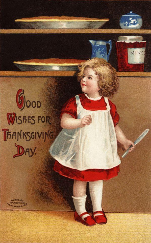 ca. 1910 — Good Wishes for Thanksgiving Day Postcard — Image by © Cynthia Hart Designer/Corbis
