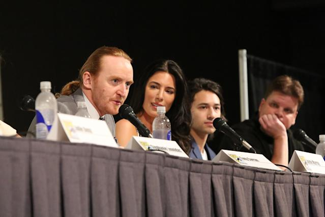 "Tony Curran, Jaime Murray, Jesse Rath and Senior Producer, Trion Worlds Rob Hill at the ""Defiance"" Panel in San Diego, CA on Friday, July 19, 2013."