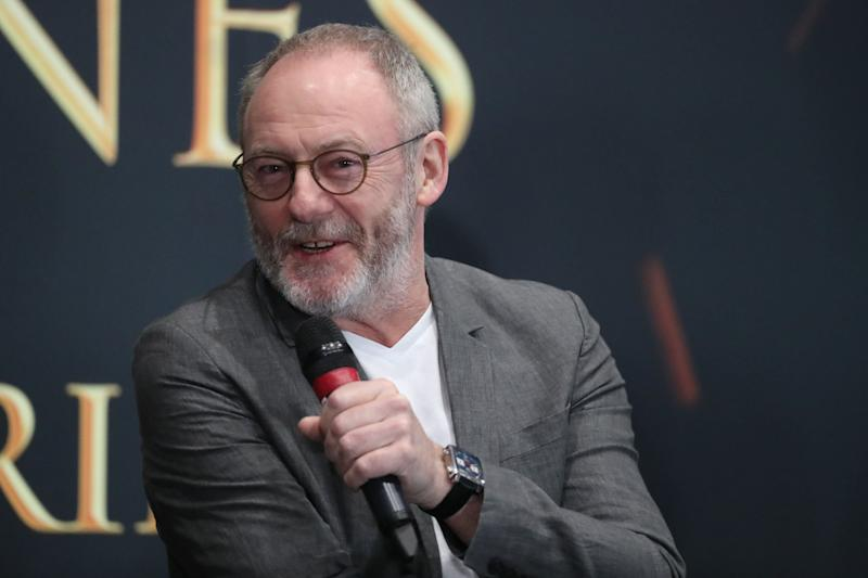 Actor Liam Cunningham, who plays Davos Seaworth in Game of Thrones, at the launch of the Game of Thrones touring exhibition at the Titanic Exhibition Centre in Belfast. (Photo by Liam McBurney/PA Images via Getty Images)