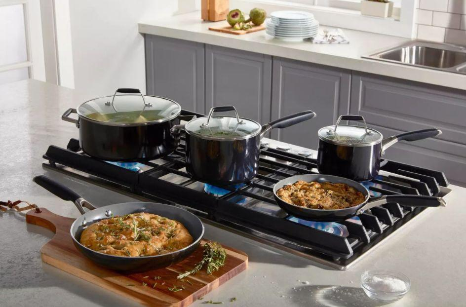 """This cookware set is constructed withenameled aluminum andtempered glass, making it pretty durable to us. It even has anolive oil-infused ceramic coating. The set includes two fry pans, two sauce pans and a Dutch oven.<a href=""""https://goto.target.com/c/2055067/81938/2092?u=https%3A%2F%2Fwww.target.com%2Fp%2Fselect-by-calphalon-8pc-oil-infused-ceramic-cookware-set%2F-%2FA-76401372%23lnk%3Dsametab&subid1=5&subid2=primedaytargetdeals&subid3=primeday20"""" target=""""_blank"""" rel=""""noopener noreferrer"""">Originally $150, get the set now for $100 at Target</a>."""