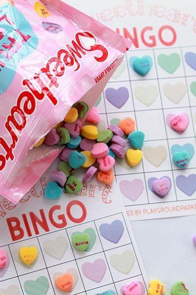 """<p>There are two levels of difficulty for this printable game. Younger kids can match their candy to the color of their hearts and see if they can get a Bingo. For older kids, there's a harder Bingo card where they have to match the messages on the hearts. </p><p><em><a href=""""https://playgroundparkbench.com/conversation-hearts-valentine-bingo/"""" rel=""""nofollow noopener"""" target=""""_blank"""" data-ylk=""""slk:Get the tutorial at Playground Parkbench »"""" class=""""link rapid-noclick-resp"""">Get the tutorial at Playground Parkbench »</a></em></p>"""