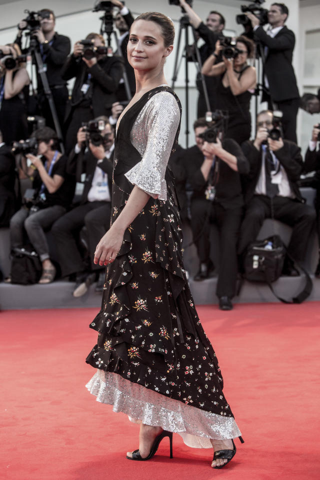<p>Does she ever put a foot wrong? The actress dazzled in a floral and sequin gown on the red carpet. <i>[Photo:Getty]</i></p>