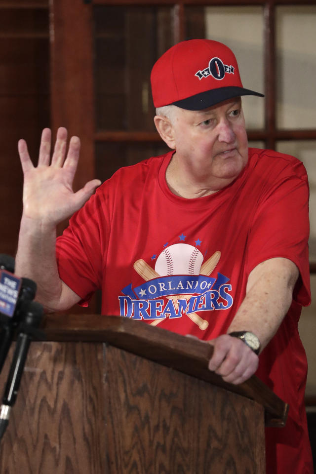 Pat Williams, co-founder of the NBA Orlando Magic basketball team, speaks at a news conference to announce a campaign to bring a Major League Baseball team to Orlando, Wednesday, Nov. 20, 2019 in Orlando, Fla.. (AP Photo/John Raoux)