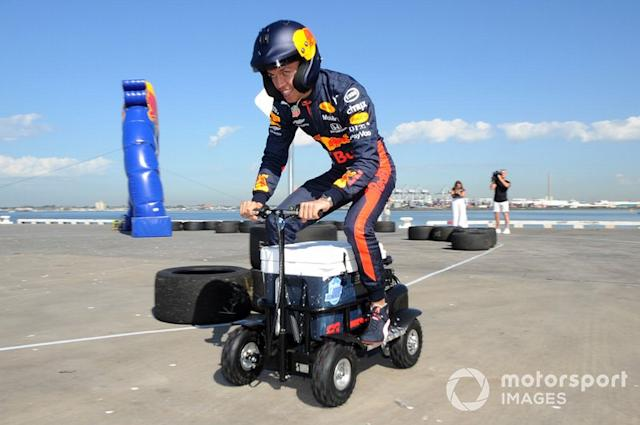 """Alex Albon, Red Bull Racing at a Red Bull event Grand Pier in St Kilda <span class=""""copyright"""">John Toscano / Motorsport Images</span>"""