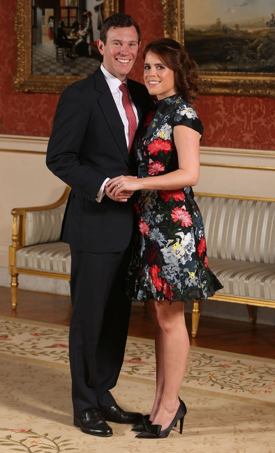 "<p>Princess Eugenie officially announced her engagement to Jack Brooksbank in January 2018, and their wedding followed later that year. But according to a <em><a href=""https://www.vanityfair.com/style/2018/09/princess-eugenie-wedding-engagement-delayed"" rel=""nofollow noopener"" target=""_blank"" data-ylk=""slk:Vanity Fair"" class=""link rapid-noclick-resp"">Vanity Fair</a></em> source, ""It's my understanding that Eugenie and Jack decided some time ago that they wanted to get married, and there was some talk about a wedding in 2017, but they had to wait for Harry to go first."" Basically, Prince Harry <a href=""https://www.harpersbazaar.com/celebrity/latest/a23384923/princess-eugenie-delayed-engagement/"" rel=""nofollow noopener"" target=""_blank"" data-ylk=""slk:outranked his cousin"" class=""link rapid-noclick-resp"">outranked his cousin</a>, so his engagement to Meghan Markle was announced first, and their wedding took place before Eugenie's.</p>"