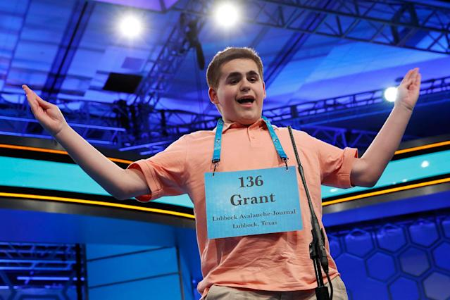 <p>Grant Taylor, 14, of Lubbock, Texas, reacts after spelling his word correctly in the 90th Scripps National Spelling Bee in Oxon Hill, Md., Wednesday, May 31, 2017. (AP Photo/Jacquelyn Martin) </p>
