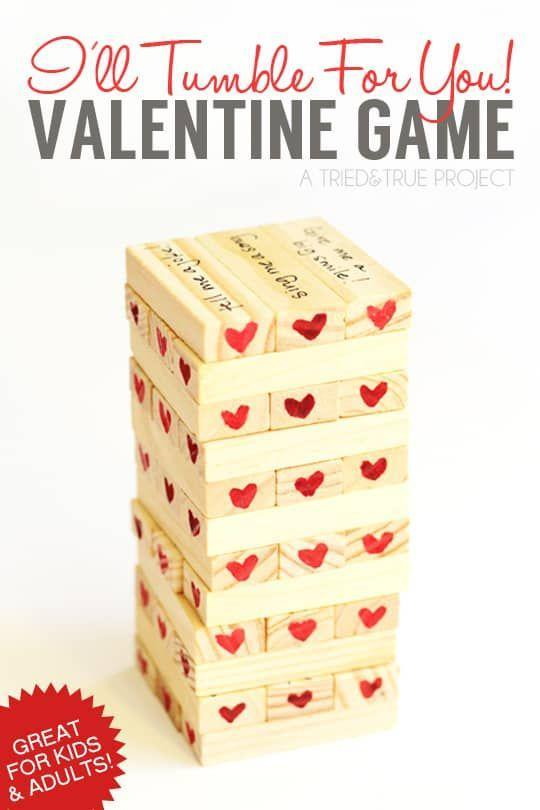 """<p>Take the classic """"Jenga"""" or tumble tower game to the next level by writing different love-themed instructions on the blocks, like """"give one hug"""" — it's a sweet interactive game that'll have all parties entertained (and feeling loved).</p><p><em><a href=""""https://www.triedandtrueblog.com/valentines-day-tumble-game/"""" rel=""""nofollow noopener"""" target=""""_blank"""" data-ylk=""""slk:Get the tutorial at Tried & True »"""" class=""""link rapid-noclick-resp"""">Get the tutorial at Tried & True »</a></em></p>"""