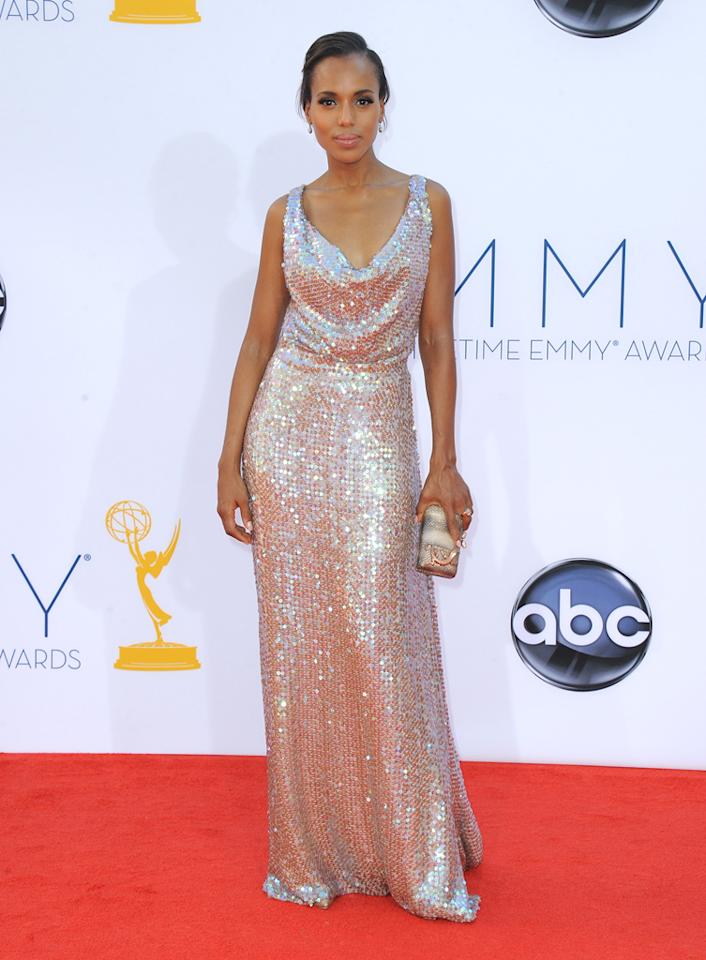 Kerry Washington arrives at the 64th Primetime Emmy Awards at the Nokia Theatre in Los Angeles on September 23, 2012.