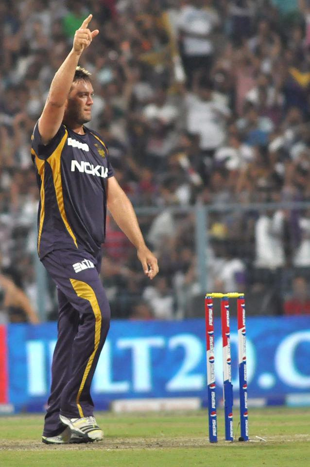 KKR player Jacques Kallis celebrate fall of wicket during the match between Kolkata Knight Riders and Kings XI Punjab at Eden Gardens in Kolkata on April 26, 2013. (Photo: IANS)