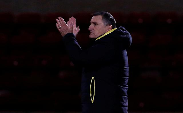 Soccer Football - FA Cup Second Round Replay - Crewe Alexandra vs Blackburn Rovers - The Alexandra Stadium, Crewe, Britain - December 13, 2017 Blackburn Rovers manager Tony Mowbray applauds the fans after the match Action Images/Craig Brough