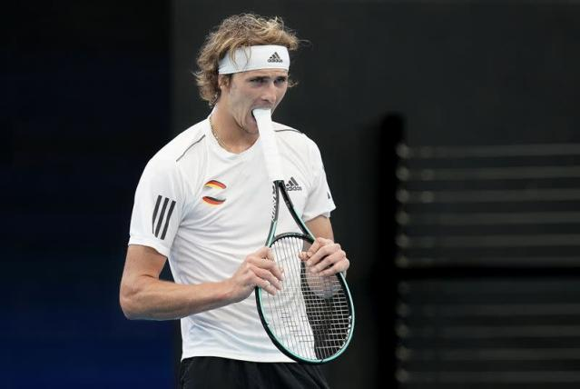 Alexander Zverev of Germany reacts during his singles match against Denis Shapovalov of Canada during day 5 of the ATP Cup tennis tournament at Pat Rafter Arena in Brisbane