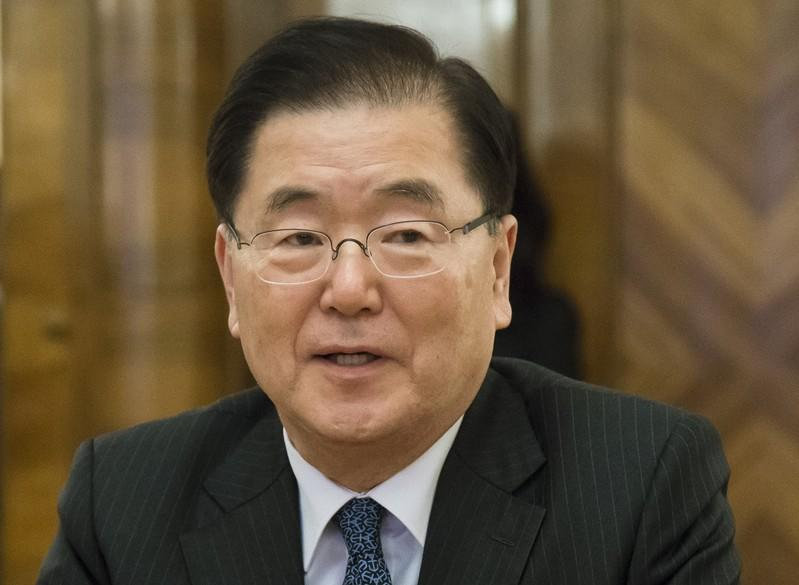 South Korea's National Security Office chief Chung Eui-yong attends a meeting with Russia's Foreign Minister Sergei Lavrov in Moscow