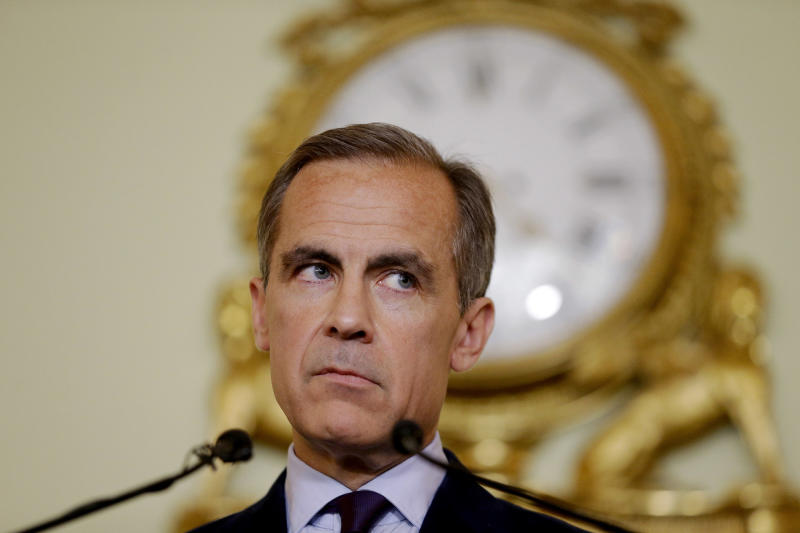 The governor of the Bank of England Mark Carney gives a press conference, his first since the leave result of the European Union referendum, at the Bank of England in the City of London
