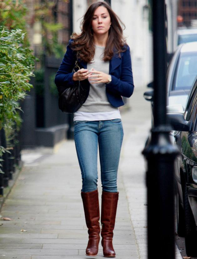 Kate Middleton photos: These brown knee high boots, cropped jacket and jeans are  more Pippa Middleton than her big sister. But back in the day Kate dressed like any other Sloane ranger.