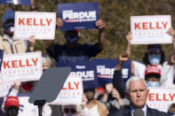 Vice President Mike Pence speaks during a Defend the Majority Rally, Friday, Nov. 20, 2020 in Canton, Ga. (AP Photo/Ben Gray)