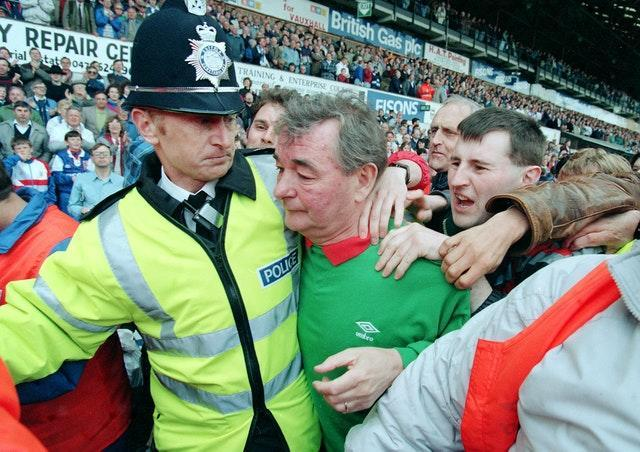 Brian Clough is besieged by fans