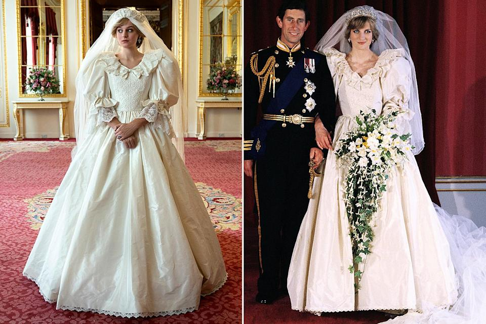 """<p>Emma Corrin said everyone on set """"went completely silent"""" when she stepped out in a replica of Princes Diana's wedding dress.</p>"""