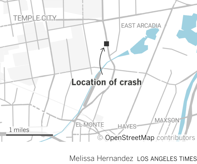 Map highlighting the location of the crash, at the intersection of Santa Anita Ave and Freer Street.