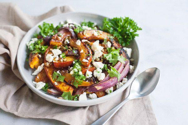 """<p>When pumpkin is roasted in the oven, it can transform into a crispy side dish that's perfect for all your fall occasions—Thanksgiving included! Top the pieces off with toasted pepitas (pumpkin seeds) for a nice crunch. </p><p><strong>Get the recipe at <a href=""""https://www.bourbonandhoney.com/spicy-roasted-pumpkin-honey-feta/"""" rel=""""nofollow noopener"""" target=""""_blank"""" data-ylk=""""slk:Bourbon and Honey"""" class=""""link rapid-noclick-resp"""">Bourbon and Honey</a>. </strong> </p>"""