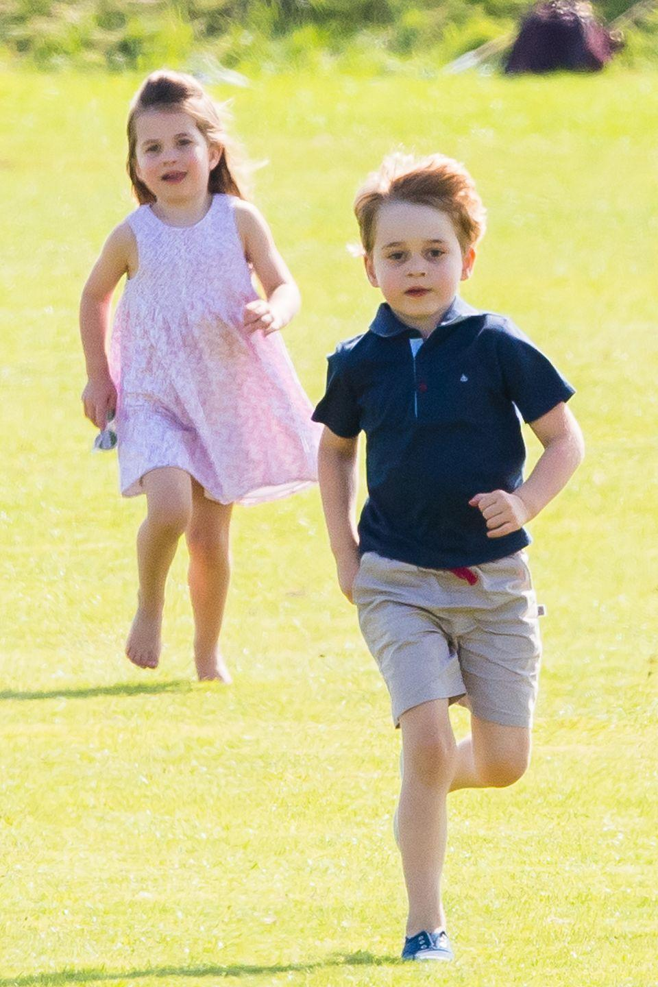 "<p>The royal brother and sister look adorable as they busy themselves with games and <a href=""https://www.harpersbazaar.com/celebrity/latest/a21266824/princess-charlotte-makes-kate-middleton-laugh/"" rel=""nofollow noopener"" target=""_blank"" data-ylk=""slk:goofy antics"" class=""link rapid-noclick-resp"">goofy antics</a> during the polo match. </p>"