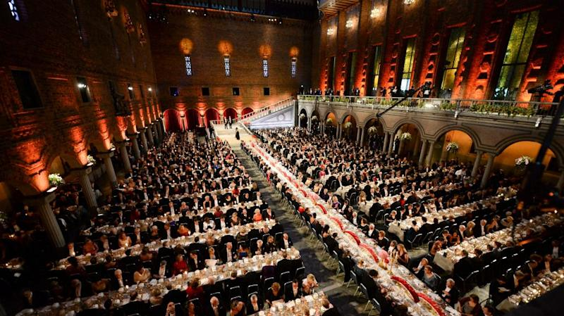 A general view shows the Nobel banquet at Stockholm Town Hall