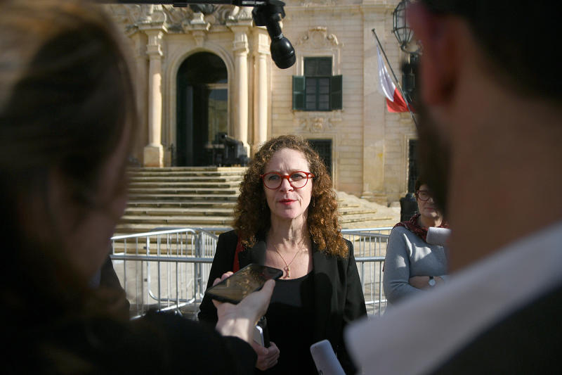 "EU special enjoy Sophia in 't Veld is seen talking to the press outside Castille, in Valletta, Malta, Tuesday, Dec. 3, 2019, after a short meeting with the Prime Minister of Malta Joseph Muscat after an investigation into the murder of leading investigative journalist Daphne Caruana Galizia implicated Prime Minister Joseph Muscat's chief of staff. Sophia in 't Veld said outside the prime minister's office that ""it is difficult to see how credibility of the office can be upheld."" (AP Photo/Rene Rossignaud)"