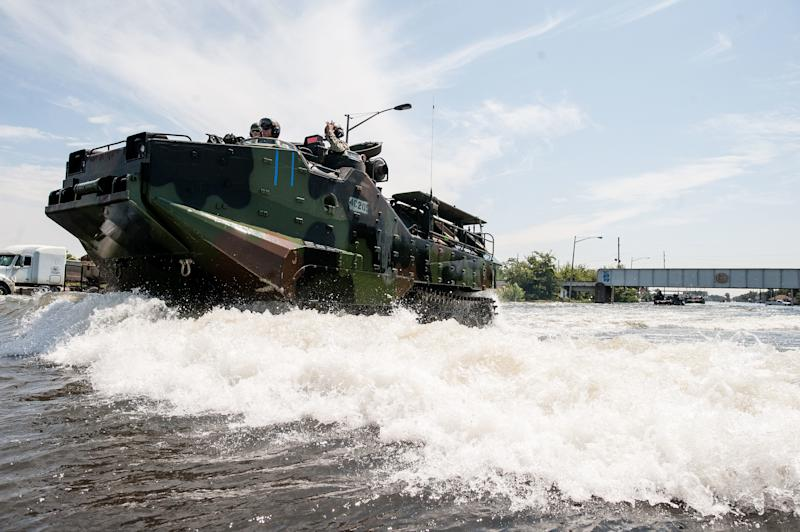 Marines return to a launch point in Port Arthur, Texas, near the Louisiana border. (Joseph Rushmore for HuffPost)