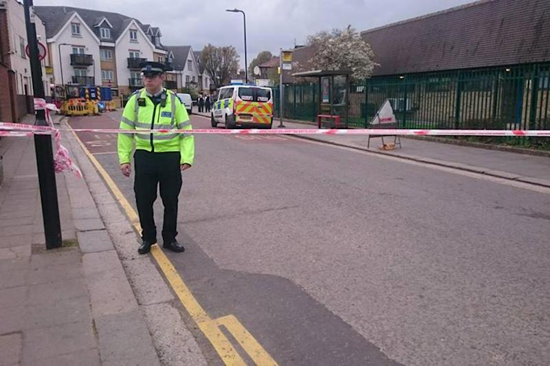 Police at the scene of the attack in West Ealing
