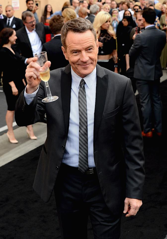 "CULVER CITY, CA - JULY 24: Actor Bryan Cranston arrives as AMC Celebrates the final episodes of ""Breaking Bad"" at Sony Pictures Studios on July 24, 2013 in Culver City, California. (Photo by Mark Davis/Getty Images)"