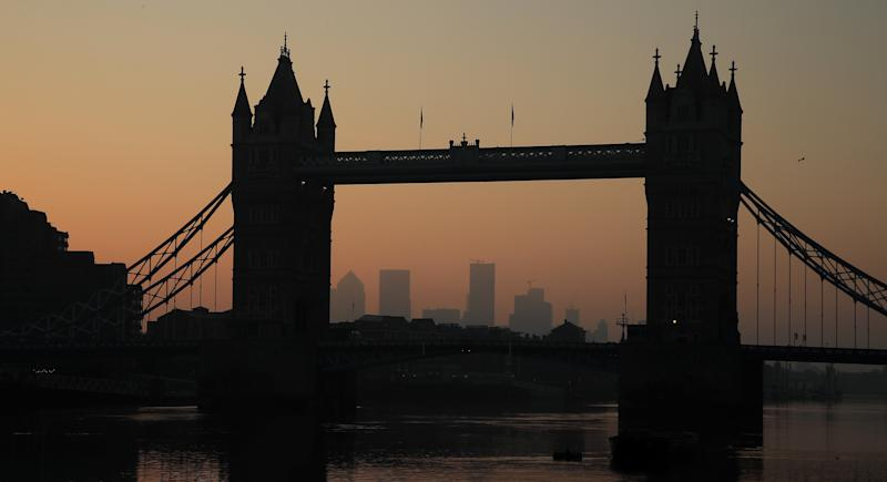 LONDON, ENGLAND - APRIL 16: A general view of Tower Bridge at sunrise on April 16, 2020 in London, England . The Coronavirus (COVID-19) pandemic has spread to many countries across the world, claiming over 130,000 lives and infecting over 2 million people. (Photo by Andrew Redington/Getty Images)
