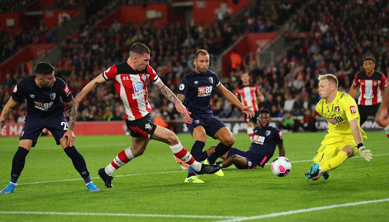 "Soccer Football - Premier League - Southampton v AFC Bournemouth - St Mary's Stadium, Southampton, Britain - September 20, 2019 Southampton's Pierre-Emile Hojbjerg in action with Bournemouth's Aaron Ramsdale REUTERS/Eddie Keogh EDITORIAL USE ONLY. No use with unauthorized audio, video, data, fixture lists, club/league logos or ""live"" services. Online in-match use limited to 75 images, no video emulation. No use in betting, games or single club/league/player publications. Please contact your account representative for further details."