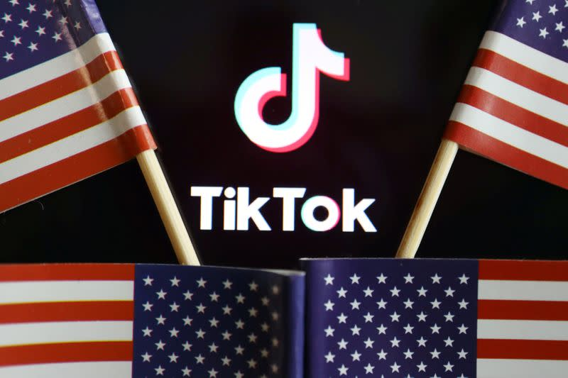 FILE PHOTO: Illustration picture of Tiktok with U.S. flags