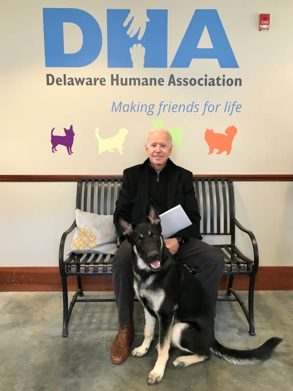 Joe Biden poses with his new rescue dog Major in Wilmington