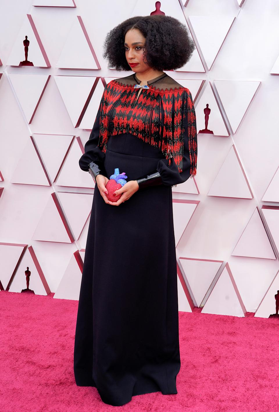 Celeste Waite arrives to the 93rd Academy Awards, at Union Station, in Los Angeles, U.S., April 25, 2021. Chris Pizzello/Pool via REUTERS