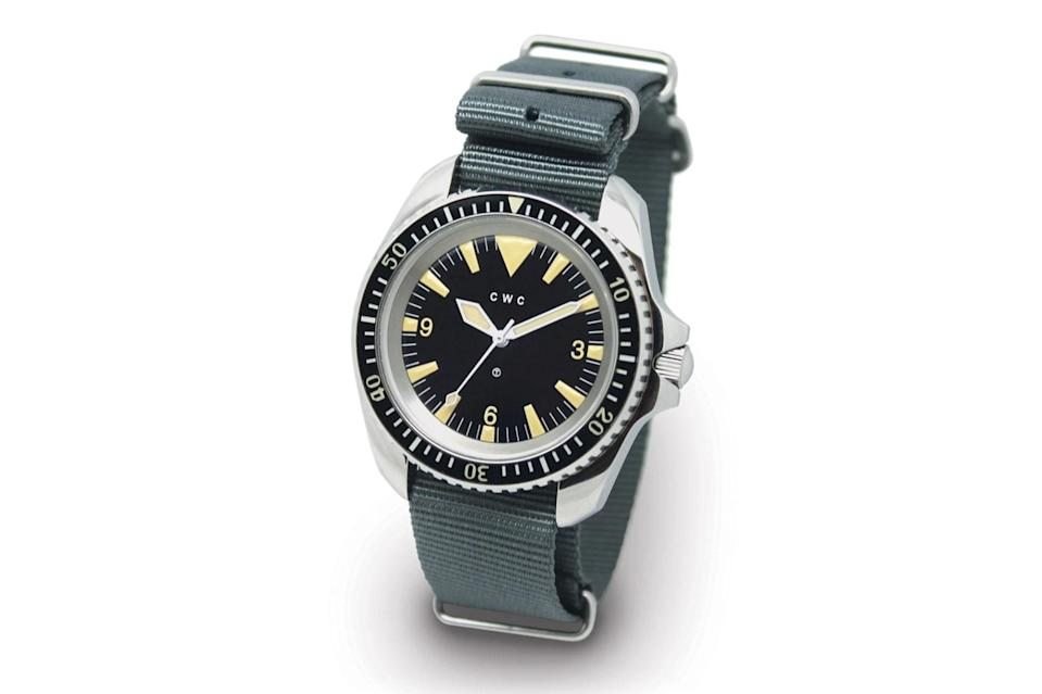 """$2400, CWC. <a href=""""https://www.cwcwatch.com/collections/heritage-reissue-historical-watches/products/reissue-1980-royal-navy-diver-automatic"""" rel=""""nofollow noopener"""" target=""""_blank"""" data-ylk=""""slk:Get it now!"""" class=""""link rapid-noclick-resp"""">Get it now!</a>"""