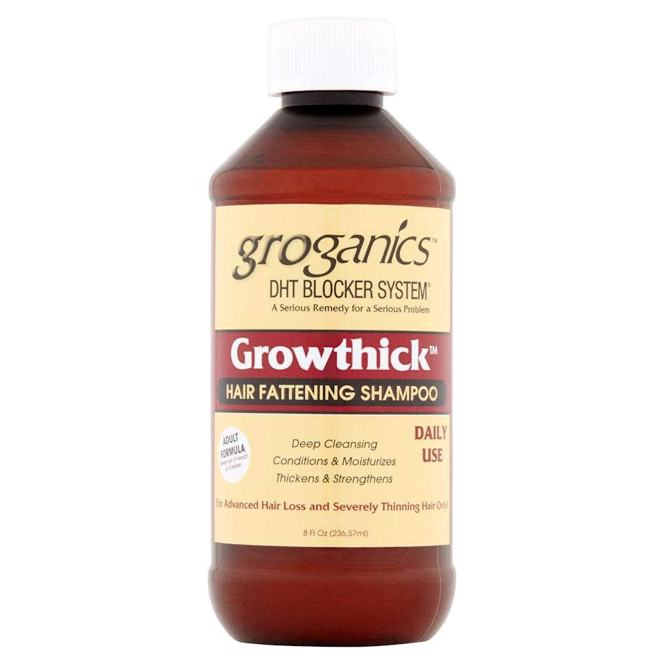 """<p><strong>Groganics</strong></p><p>walmart.com</p><p><strong>$9.26</strong></p><p><a href=""""https://go.redirectingat.com?id=74968X1596630&url=https%3A%2F%2Fwww.walmart.com%2Fip%2F55334958&sref=https%3A%2F%2Fwww.thepioneerwoman.com%2Fbeauty%2Fhair%2Fg32690409%2Fbest-shampoo-for-thinning-hair%2F"""" rel=""""nofollow noopener"""" target=""""_blank"""" data-ylk=""""slk:Shop Now"""" class=""""link rapid-noclick-resp"""">Shop Now</a></p><p>A serious problem needs a serious solution: this hair fattening shampoo is for people battling advanced hair loss. According to the brand, the formula is made with a blend of thickeners that actually expand the hair shaft to produce fat and healthy hair.</p>"""
