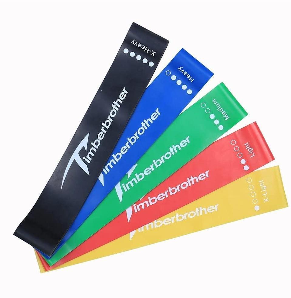 """<h2>Timberbrother Resistance Loop Bands<br></h2><br>This sturdy, sweat-resistant set offers bands for folks at all fitness levels, and are great for everything from sculpting to strength training to stretching. <br><br><strong>Timberbrother</strong> Timberbrother Resistance Loop Bands, $, available at <a href=""""https://www.amazon.com/Timberbrother-Resistance-Loop-Bands-Exercise/dp/B07CKCYKX5"""" rel=""""nofollow noopener"""" target=""""_blank"""" data-ylk=""""slk:Amazon"""" class=""""link rapid-noclick-resp"""">Amazon</a>"""